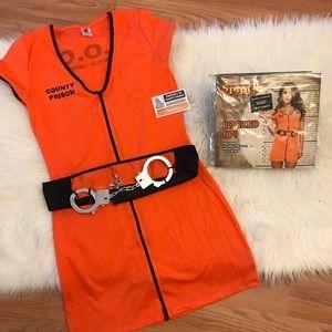 Women's Locked Up Prison Zip Up Dress Costume M